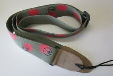 Red Dot on Olive Green Guitar Strap, Suede ends with Skull & Bones imprinting