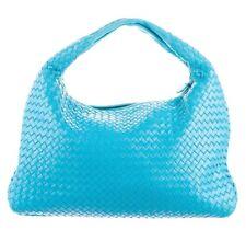 BOTTEGA VENETA Turquoise Blue Bag Satchel Shoulder Woven Leather Medium Hobo