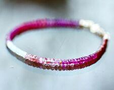 """Natural Ombre Spinel Rhodolite Pink Sapphire Bracelet Solid 14k Gold 7.4"""" - 7.9"""""""