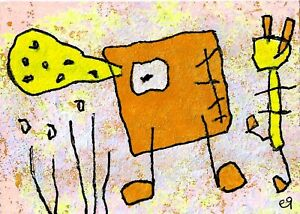 21022595 e9Art ACEO Abstract Figurative Outsider Art Painting Expressionism Brut