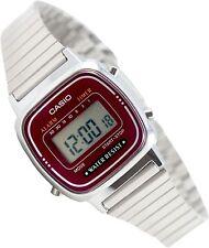 Casio LA670WA-4 Ladies Digital Red Watch Silver Steel Band Classic Alarm New