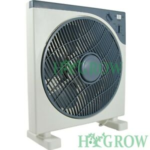 """Box Fan 12"""" Fan Air Mover Oscillate, 3 speed Timer. Tent Grow Room Space Saver"""