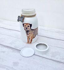 Personalised Border Terrier Dog Treat Jar/ Mason Jar/ Decorated Jar Vase