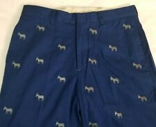 Orvis Men's Blue Chino Pants w/Embroidered Donkey Democrats Party Sz 32x29