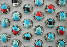 Wholesale Lots 49pcs Mixed Women Mens Natural Stone Jewelry Assorted Alloy Rings