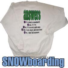 trands MUNDO SNOWBOARD Equipo Sudadera Camiseta respuestas BLANCO XL Clásicos'