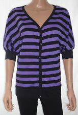 Hip Length V Neck Singlepack Striped Tops & Shirts for Women