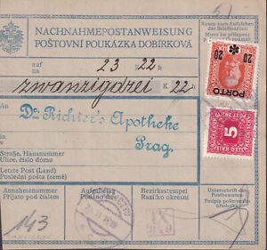 1918 POLAND AUSTRIA INTERIM mixed Postage Due ZAKLICZOW to ČSR
