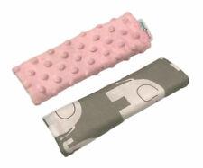 DIMPLE  BELT COVER CAR SEAT PRAM PAD SHOULDER STRAP 2pc Pink/ Elephant grey