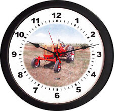 """New RC CASE  Vintage RED YELLOW Tractor WALL CLOCK Massive 14"""""""