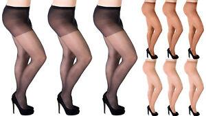Aurellie Women Plus Size Sheer 20 Denier Tights 3 Colours 3 Packs UK 16-22