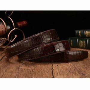 Men's Belt Genuine Leather Pattern Crocodile Animal No Buckle Strap Ceinture New