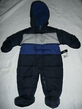 NWT Multi-color striped navy blue FADED GLORY footed snowsuit bunting sz 0-3 m.