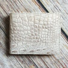 Crocodile Leather Skin Men's Bifold Wallet DOUBLE SIDE White Genuine Alligator