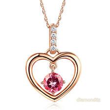 Fine 14K Rose Gold Pink Topaz Heart Pendant Necklace