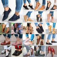 Womens Casual Flats Lace-Up Brogues Low Heels Slip on Loafers Smart Shoes Size