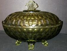 Fenton Glass Thumbprint Oval Footed Covered Dish Olive Green