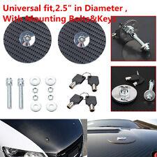 Car UNIVERSAL RACING Mount Bonnet Carbon Fiber Hood Latch Pins Keys Locking