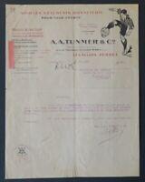 Facture 1908 VETEMENT BONNETERIE TUNMER LEVALLOIS  belle entête illustrée 22