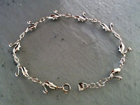 """7.1 Grams Made in Italy 8/"""" Long Solid Sterling Silver Swan Style Bracelet"""
