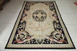 Elegant Royal French Home Decor Spendid Swirls Black Aubusson Wool Rug Pastel