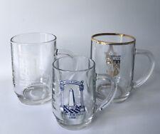 3 Freemasons Masonic Pint Tankard Glasses - Mixed Lot - Various Lodges etc