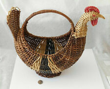 VTG RATTAN WICKER CHICKEN HEN ROOSTER BASKETCARVED WOOD BEAK - RETRO FARM