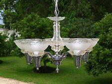 Vintage CHROME Nickel Daisy Button Glass 5 Arm Chandelier Ceiling Fixture #2