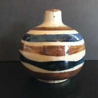 Vintage Hand Painted Japanese Bud Vase Blue & Brown