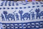 Antique Wool Blue Off White Blanket Hand Tied Knots Red Eye Cat Man Design Rare