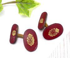 Vintage Tooled Red Leather Cufflinks - Fleur De Lis Heraldry/Family crest