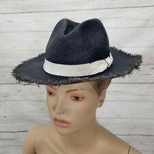 FILU HATS Panarea Navy Blue Straw Weave Sun Handmade Italy NEW Womens L