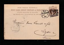 entier postal  carte  Royaume Uni   Glascow   voyagée en 1887