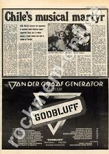 Van Der Graaf Generator Godbluff Plymouth Top Rank MM5 LP/Tour Advert 1975