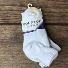 Goldtoe Tech Sports Size 6-9 White 3 Pairs Quarter Socks NEW