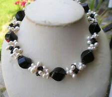 LOVELY STERLING 925 RICE PEARL & BLACK AGATE NUGGET TORSADE NECKLACE