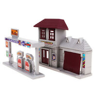 1:87 Train HO Scale Gas Station & Fire Department Model Building Kit/Scenery