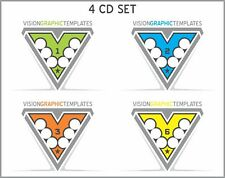 Sports Clipart - Vision Graphic Templates CD's - Set of 4 - Vector Clipart Image