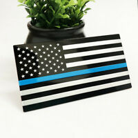 1Pcs 3D Metal Thin Blue Line American Flag Decal Graphic Car Sticker Decor New