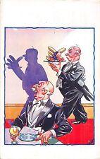 POSTCARD  COMIC    Waiter   Diner   Shadows.....