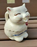 Puss n Boots Creamer Pitcher Cat Shawnee Pottery Ceramic White Bow Cottagecore