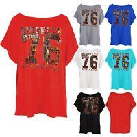 Womens Batwing Lagenlook Brooklyn 76 Ladies Athletic Oversized Baggy T Shirt Top