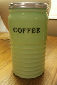 "Jeannette Jadeite Jadite Ribbed Coffee Canister with Lid. 8"" tall EUC"