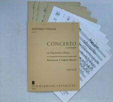 Noten. Vivaldi. Concerto in re minore per Viola d' amore e Chitarra. Part. & St.