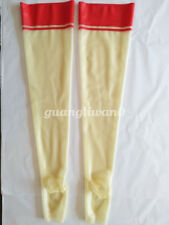 100%Latex Rubber Women Sexy Thigh-High Simple Socks Red Stocking Size XXS-XXL