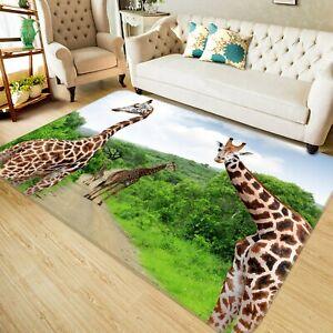 3D Cute Giraffe Forest I402 Animal Non Slip Rug Mat Round Elegant Carpet Honey
