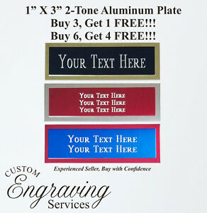 """Engraved Plate 1""""x3"""" Custom TWO TONE Aluminum Trophy Plate Name Tag Plaque Art"""
