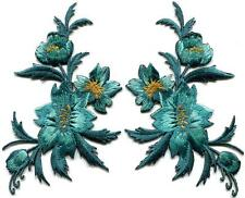 Blue green teal flowers pair floral bouquet boho appliques iron-on patches S-804