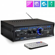 Pyle Home PCAU48BT - 2x120-Watt Bluetooth Mini Blue Series Stereo Power Amplifier