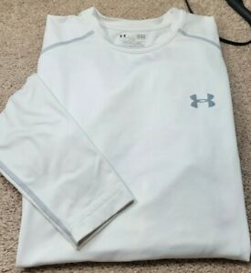 UNDER ARMOUR COLDGEAR-White Poly/Elast, Mens FITTED, BaseLayer Fitness Tee-(L)